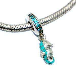 PANDORA Tropical Seahorse Teal Dangle, 791311MCZ
